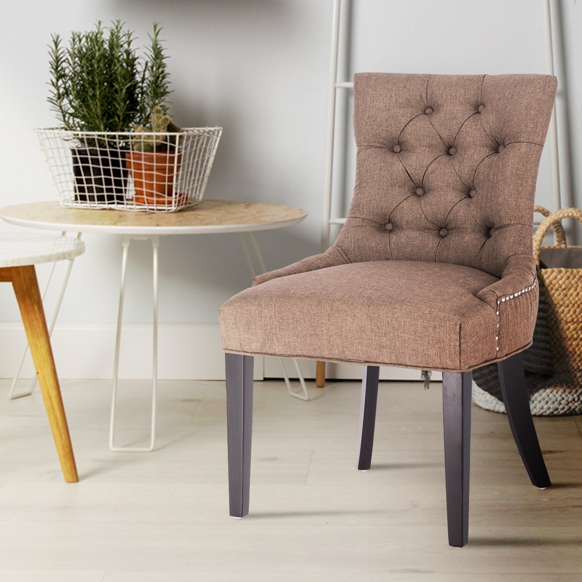 Giantex Fabric Dining Chair Button-Tufted Upholestered with Solid Wood Legs Brown