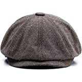 Ziyoot Mens Tweed Classic Cap Herringbone Newsboy Ivy Hat Wool Blend Flat Cap