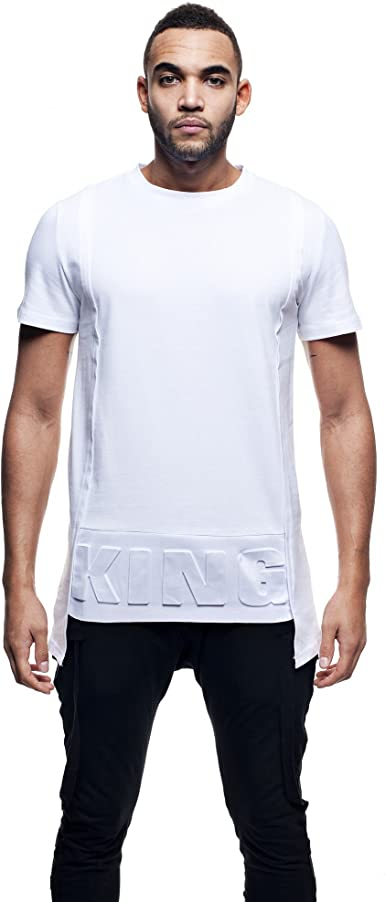 Camiseta para hombre color blanco Basic asimétrica Logo King ...