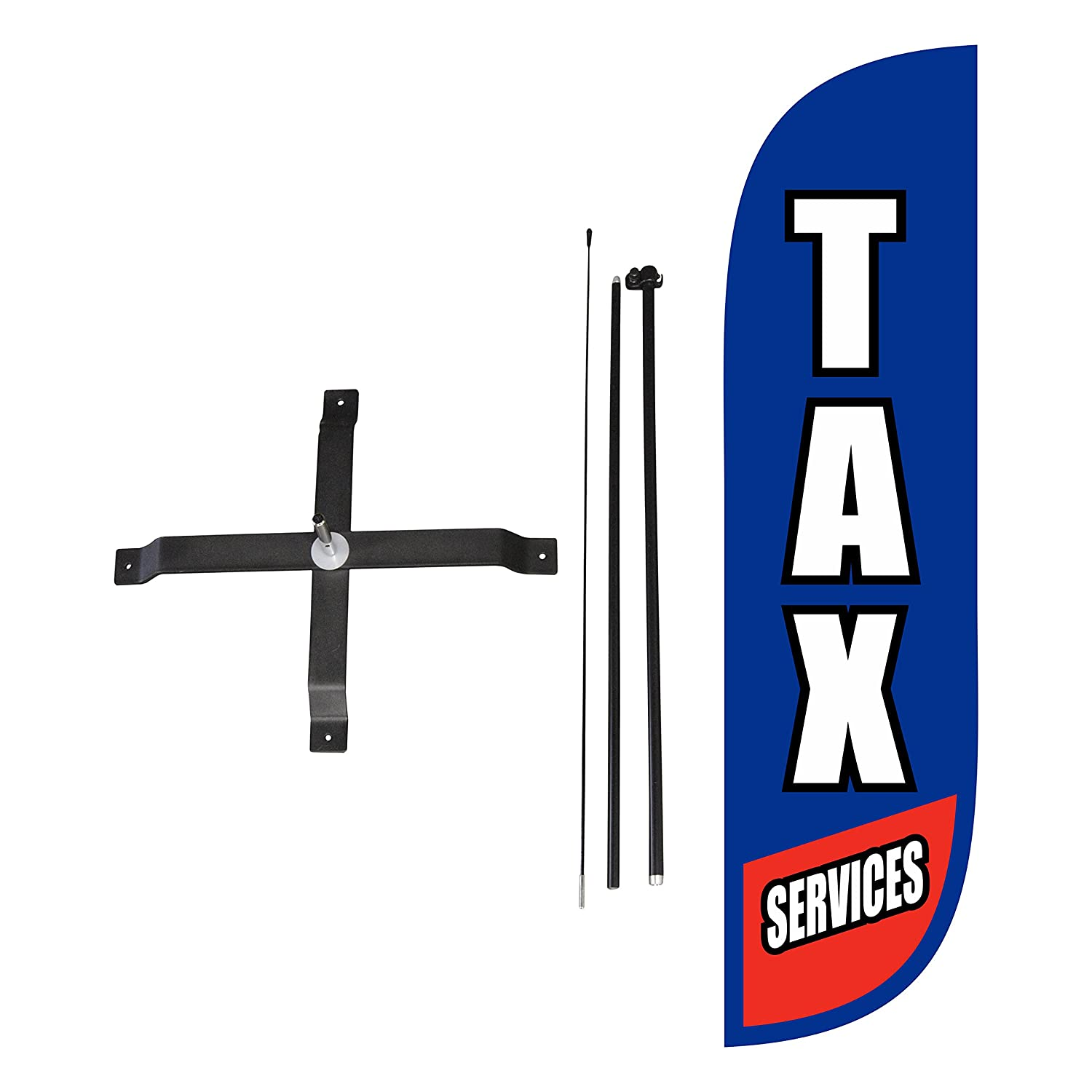 5-Feet LookOurWay Tax Services Feather Flag Complete Set with Poles /& Base
