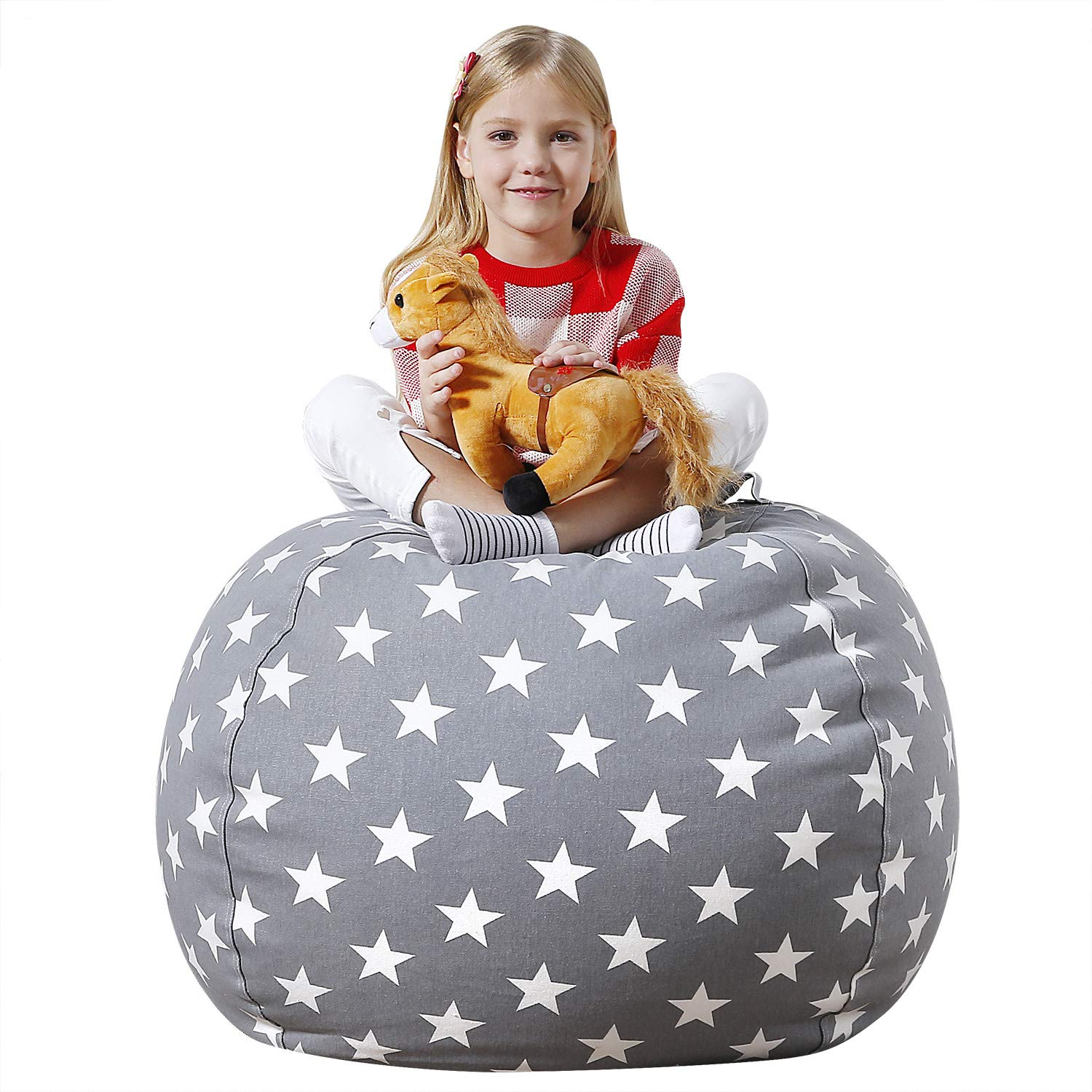 Aubliss Stuffed Animal Bean Bag Storage Chair, Beanbag Covers Only for Organizing Plush Toys. Turns into Bean Bag Seat for Kids When Filled. Premium Cotton Canvas. 38'' Extra Large Light Gray Star by Aubliss