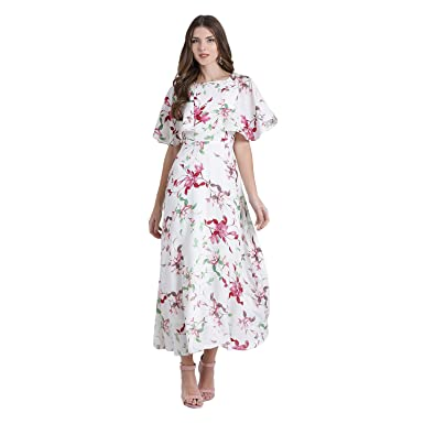 9b796a9229cd Zink London Off-White Polyester Floral Printed Fit & Flare Maxi Dress for  Women (