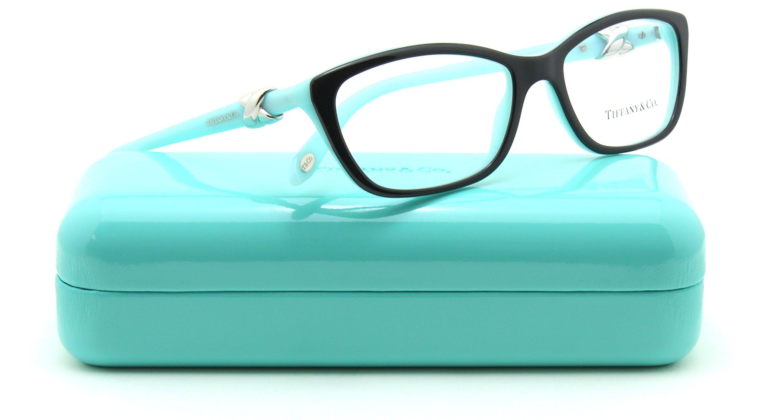 Tiffany & Co. TF 2074 Women Cat-Eye Eyeglasses RX - able Frame (BLACK/BLUE 8199, 52)