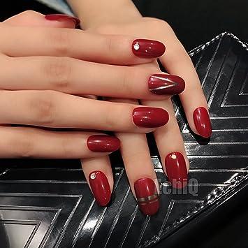 EchiQ - Juego de 28 uñas postizas de acrílico con línea matelica plateada, diseño redondo para niñas: Amazon.es: Belleza
