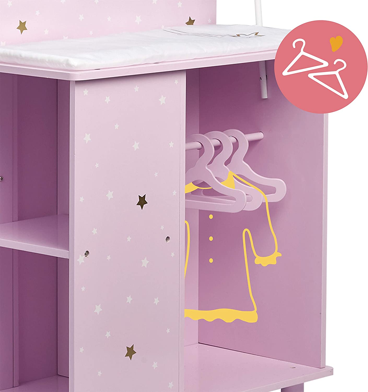 Olivia's Little World - Polka Dots Princess Baby Doll Changing Station, Baby Care Activity Center, Role Play Nursery Center with Storage for Dolls Accessories - Pink & Gray