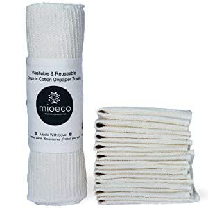 Washable & Reusable Unpaper Towel, Eco-friendly Paperfree Kitchen Roll & Dish Rag Cloth Alternative, 100% Organic Cotton, 10 Pack