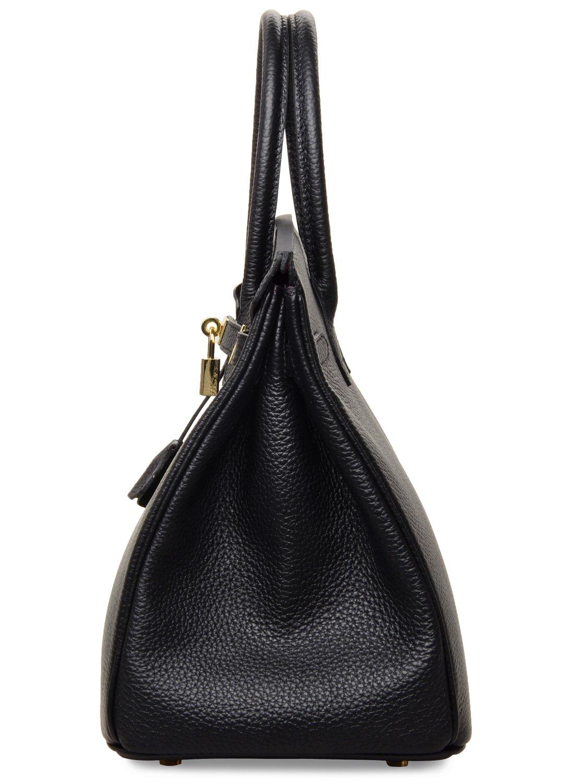 Cherish Kiss Women's Classic Genuine Leather Tote Padlock Handbags H35 (35CM, Black) by Cherish Kiss (Image #3)