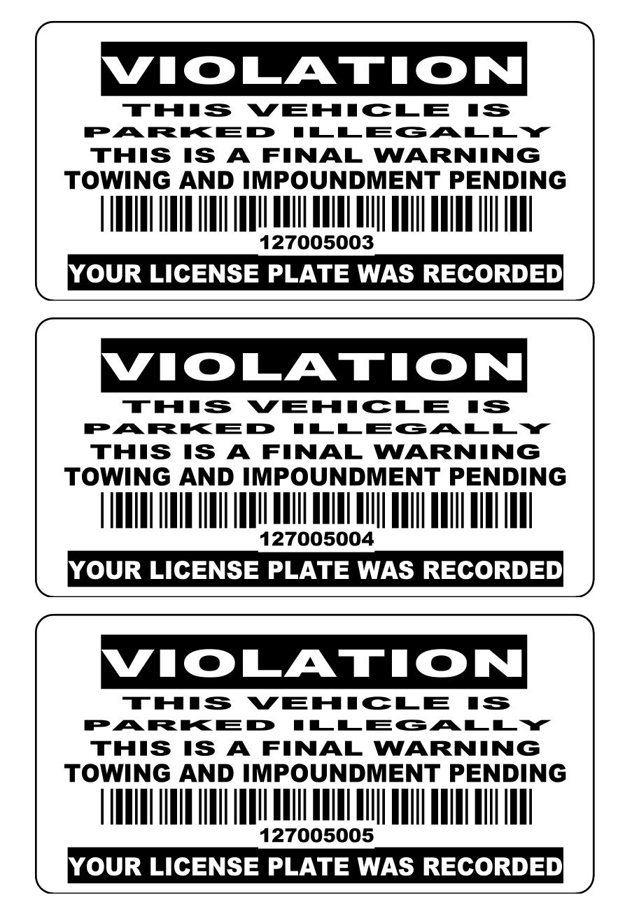 50 4'' X 2'' Consecutive Bar-Code Numbered BLACK No Parking Stickers No Parking Labels Tow Away Zone