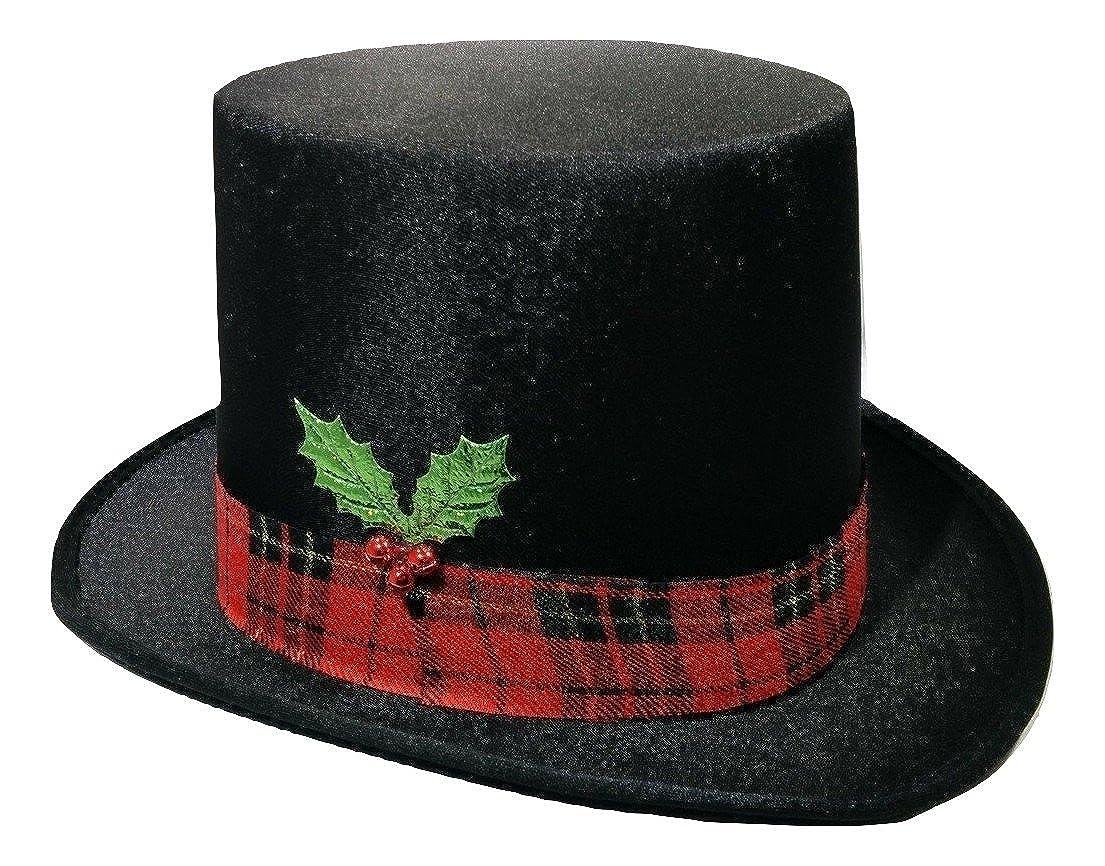 Christmas Caroler Snowman Top Hat Costume Red Plaid Band Mistletoe Holly Berries Nicky Bigs Novelties 46235