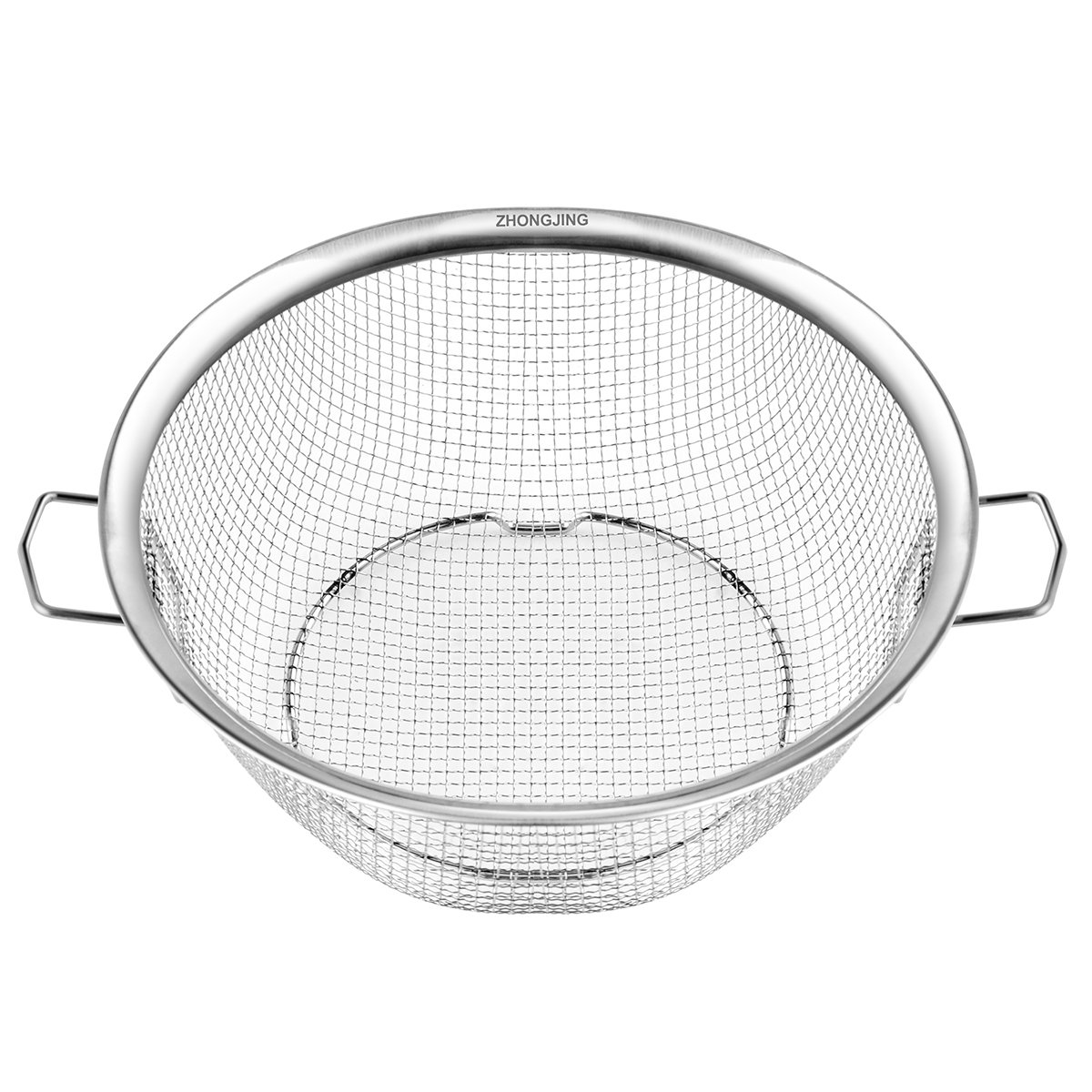 ZHONGJING Colander - Stainless Steel Wire Mesh Strainer Net Baskets with Foldable Handles & Resting Base - Strain, Drain, Rinse