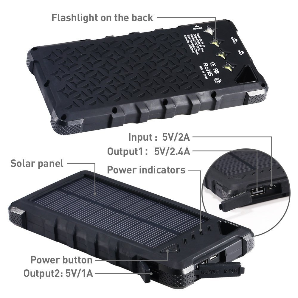 Solar Phone Charger by Compakit Huge Capacity 16000 mAh Dual USB Power Bank IP67 Waterproof with 4 LED Flashlight Universal Compatibility Cell Phone Battery Pack for Men /& Women