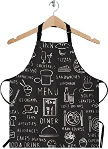 WONDERTIFY Kinds of Food Apron,Drink and Restaurant Menu Elements on Blackboard Bib Apron with Adjustable Neck for Men Women,Suitable for Home Kitchen Cooking Waitress Chef Grill Bistro Baking Apron