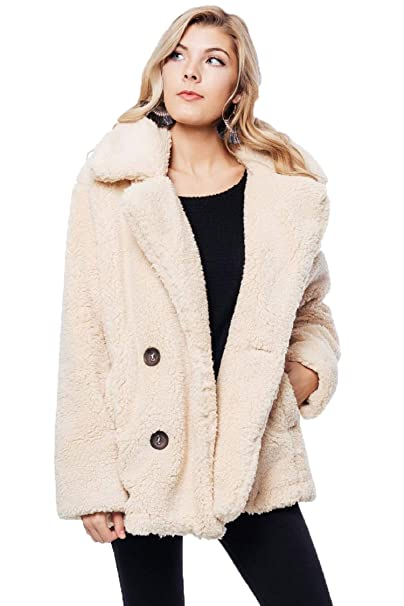 d6b0d56d966e Free People Teddy Peacoat (XS)  Amazon.ca  Clothing   Accessories