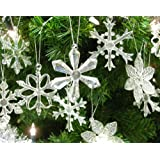 """Glass Iridescent Snowflake Ornaments - Boxed Set of 12 Snowflakes in 6 Different Patterns - 2.5""""D"""