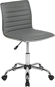 Flash Furniture Low Back Designer Armless Light Gray Ribbed Swivel Task Office Chair