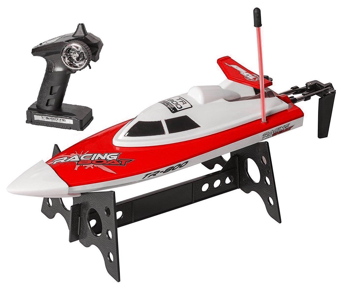 Barca di velocità dell'acqua di telecomando di Top Race®, giocattolo perfetto per le piscine e i laghi RED 49Mhz (TR-800B) Hobbit Village