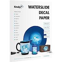 Koala 25 Sheets Waterslide Decal Paper for Inkjet Printer - WHITE 8.5x11 Inch Water Slide Transfer Paper for DIY…