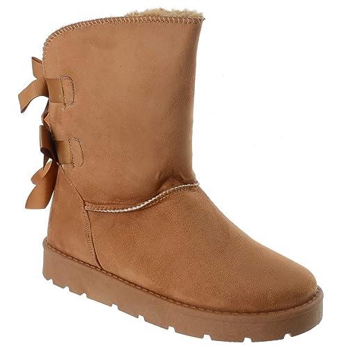 cfb64513 Miss Image UK Mujer Invierno Cálido Para Invierno Pantorrilla Plano Forro  de Piel Suela de Agarre Ajustado Botines Talla - Camello, 37: Amazon.es:  Zapatos y ...