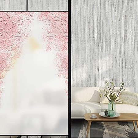 Flor de Cerezo Scrub Baño Puerta Etiqueta Translúcido Opaco Anti- Transparente Ventana Flor Etiqueta de la Ventana (Tamaño : 90cm×60cm): Amazon.es: Hogar