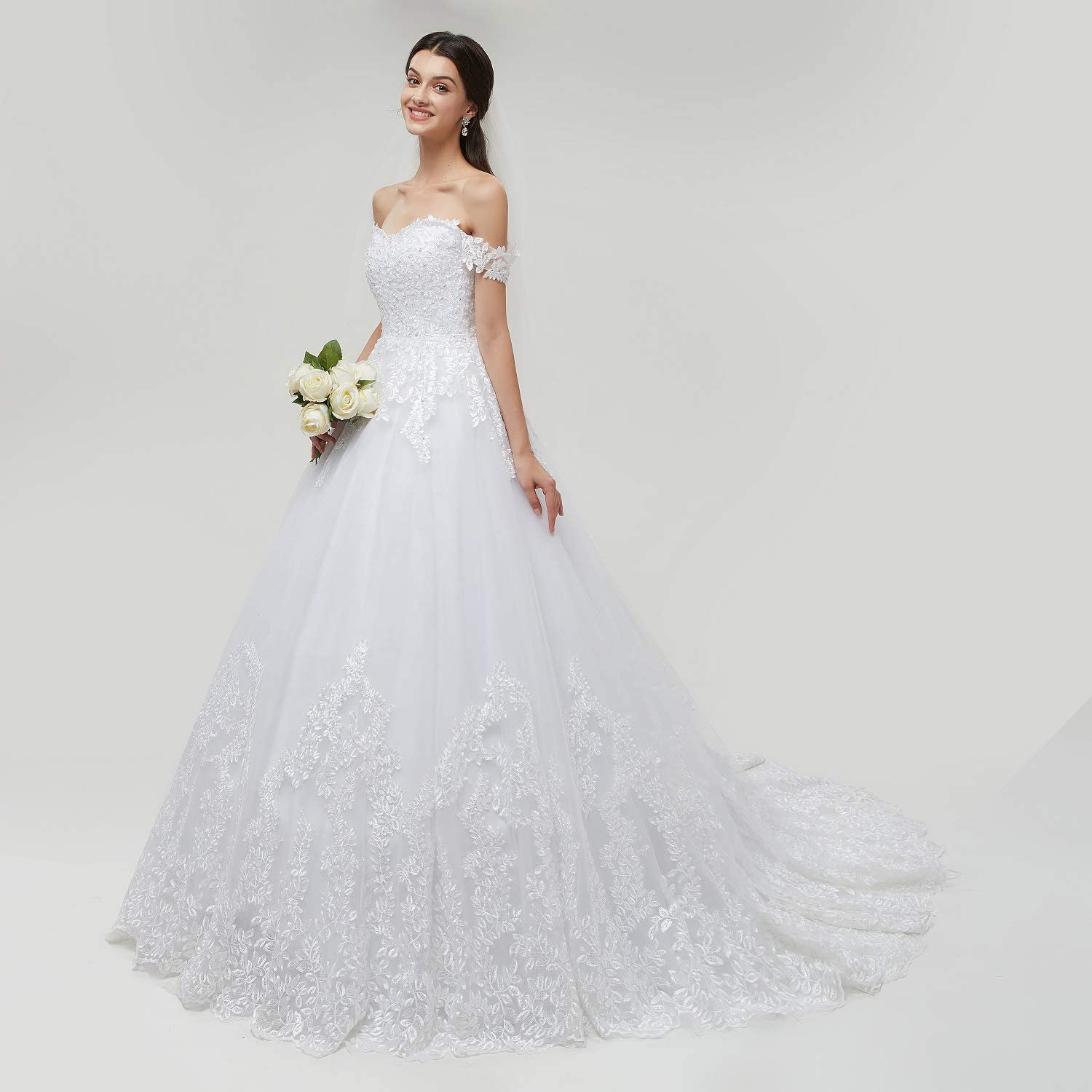 Amazon Com Engerla Womens Princess Off The Shoulder Wedding Dress Applique Chapel Train Bridal Ball Gown Plus Size Clothing,Wedding Dresses With Sleeves And Pockets