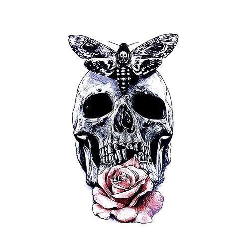 Temporary Tattoo For Girls Men Women 3D Skulls & Roses Sticker Size 21x15CM - 1PC.