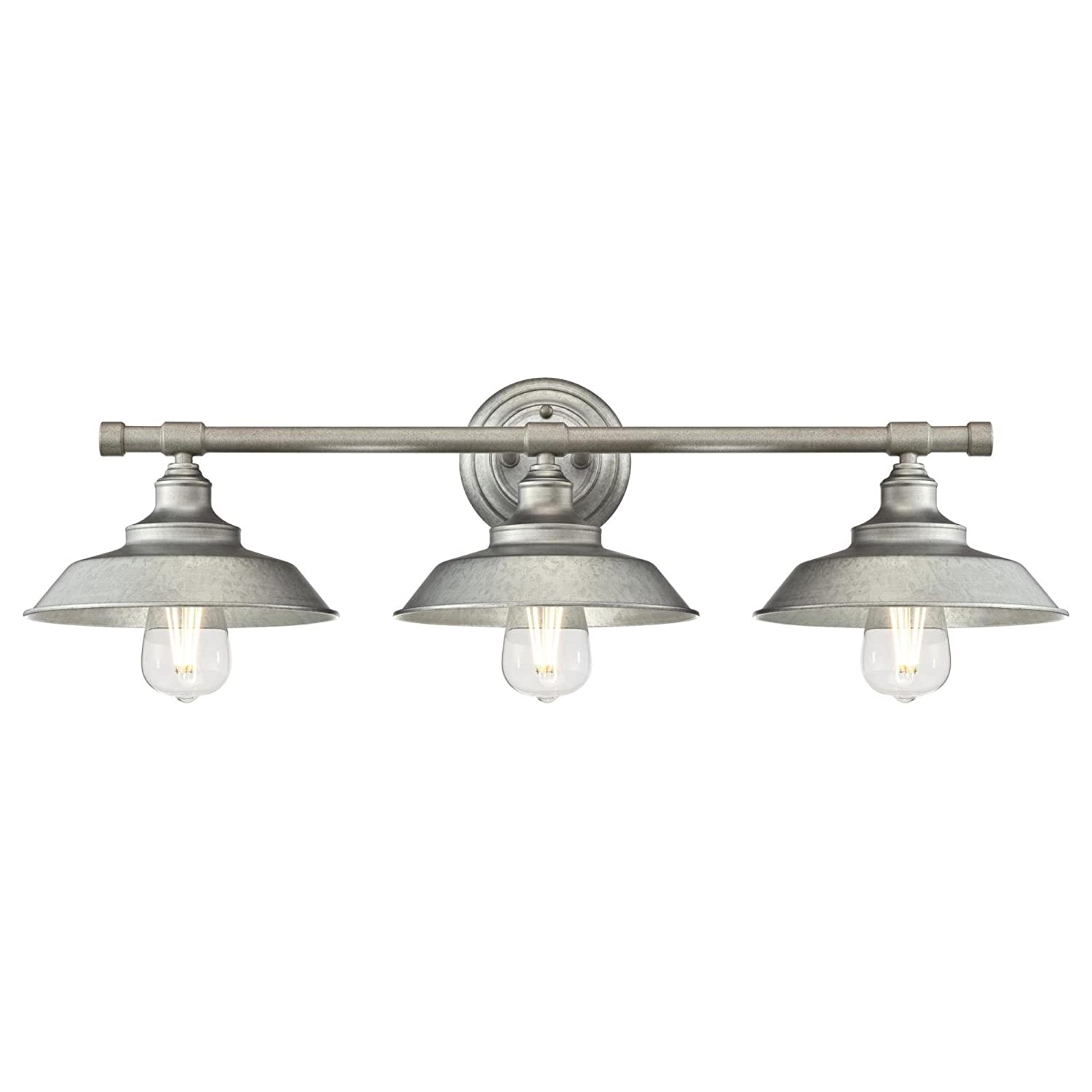 Westinghouse6354700 Iron Hill Three-Light Indoor Wall Fixture, Galvanized Steel Finish with Metal Shades
