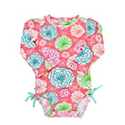 RuffleButts Baby/Toddler Girls Long Sleeve One Piece Swimsuit - Tropical Garden with UPF 50+ Sun Protection - 0-3m