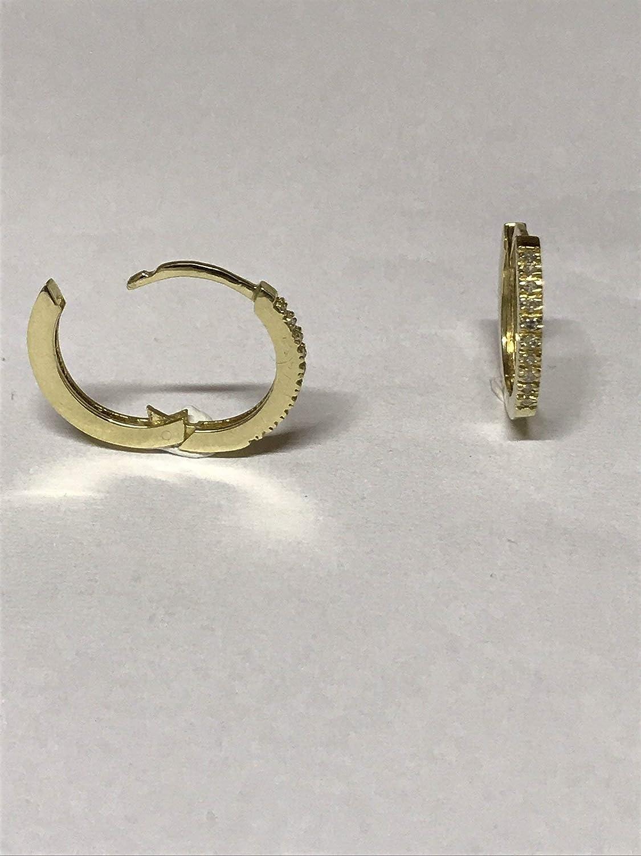 Solid yellow 9 karat gold diamond hoop click earrings