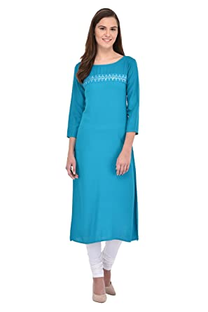 45020c07a GULMOHAR JAIPUR Women's Cotton Kurti (Blue): Amazon.in: Clothing ...