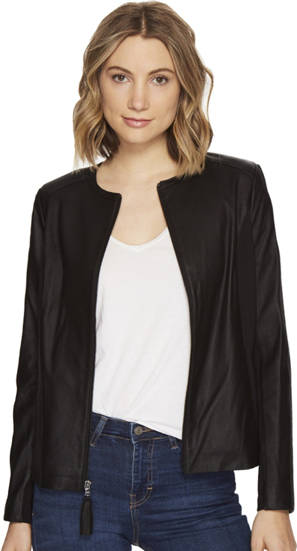 Via Spiga Women's Zip Collarless Jacket with Knit Trim Black Outerwear