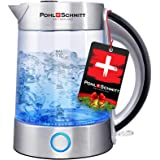 Pohl Schmitt 1.7L Electric Kettle with Upgraded Stainless Steel Filter, Inner Lid & Bottom, Glass Water Boiler & Tea…