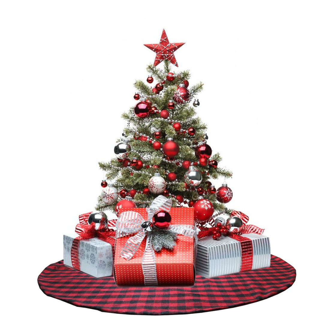 EDLDECCO 48 inch Christmas Tree Skirt with Red and Black Buffalo Check Tree Skirt Double layers a Fine Decorative Handicraft for Holiday Party by EDLDECCO