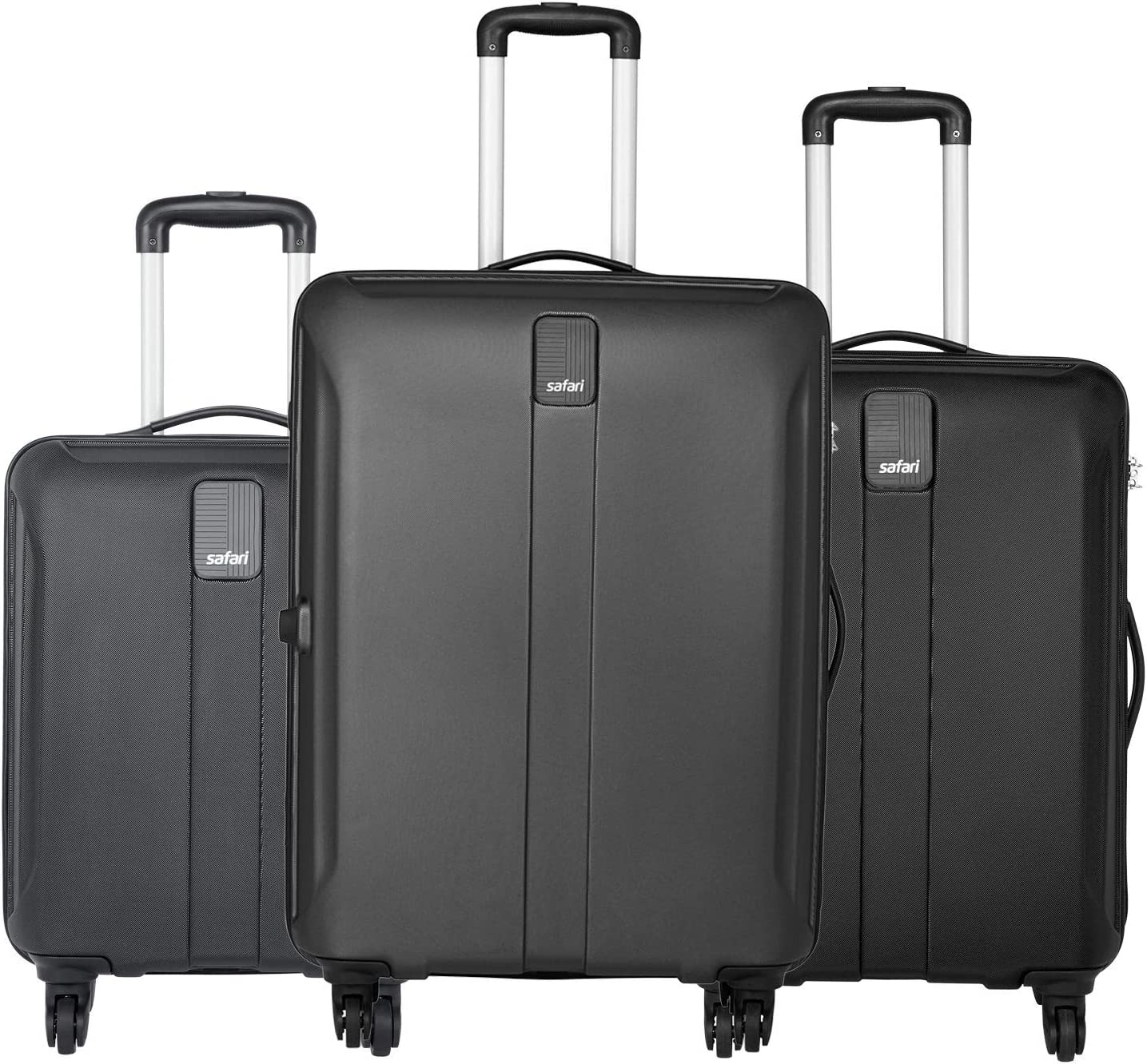 [Apply coupon Safari Thorium Sharp Anti-Scratch Combo Set of 3 Black Small, Medium & Large Check-in 4 Wheel Hard Suitcase