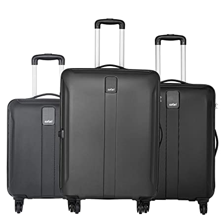 Safari Thorium Sharp Anti Scratch Combo Set of 3 Black Small, Medium   Large Check in 4 Wheel Hard Suitcase Luggage Sets