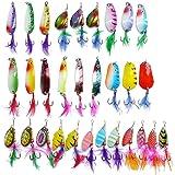 JT-Amigo - Set di 30 Ondulanti Cucchiaini Artificiali Spinning per pesca (Luccio, Trota, Bass)