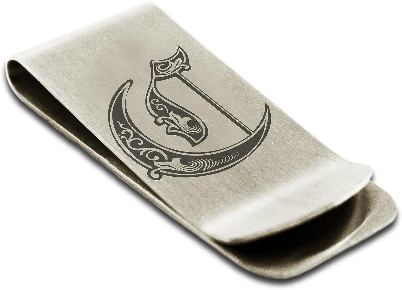 Acier Inoxydable Lettre C Initiale Royal Porte-Cartes de cr/édit avec Pince /à Billets Monogramme grav/é