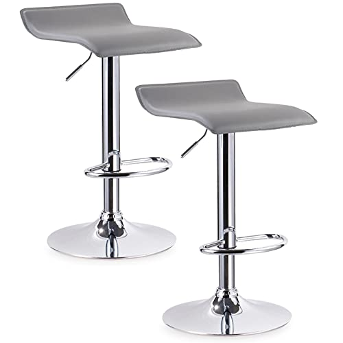 Leick Furniture Gray Adjustable Swivel Set of 2 Bar Stool