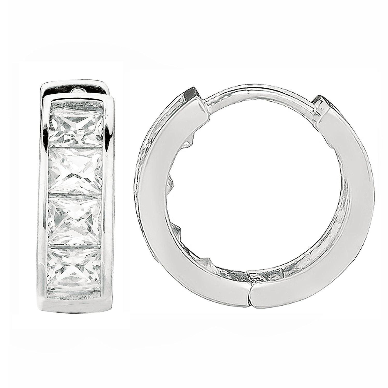Sterling Silver Princess-cut Cubic Zirconia Huggy Hoops Huggies Hoop Earrings 4x12.2 Mm Ritastephens LY-SH23