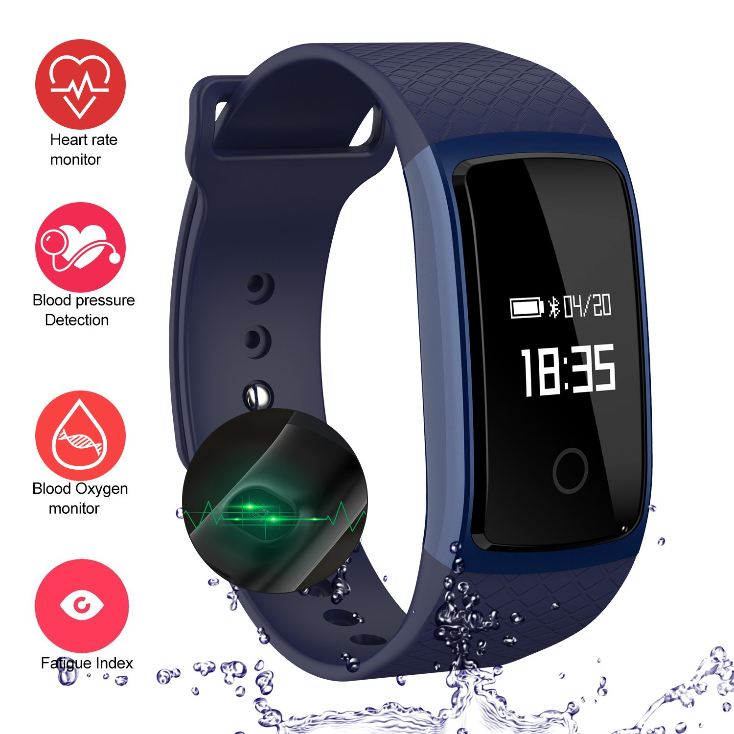 LogHog Fitness Tracker,IP67 Waterproof Sports Smart Wristband with Blood Oxygen Monitor/Blood Pressure/Heart Rate Monitor for Android Phone and IOS IPhone (Blue)