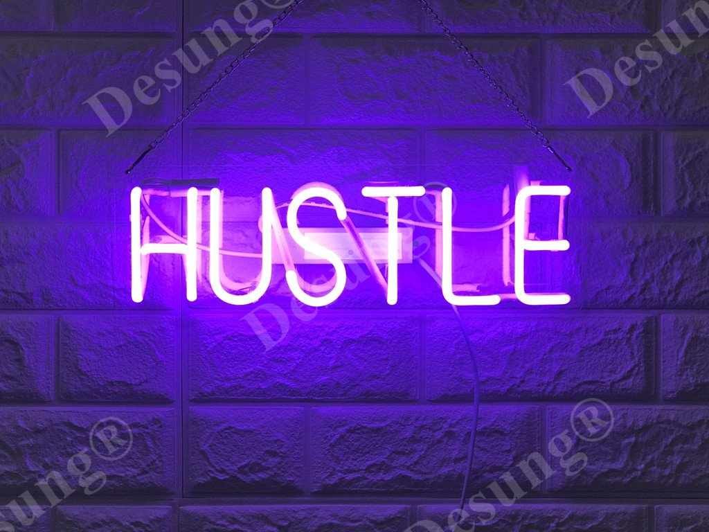 Desung Brand New 14'' Hustle Gift Lamp Decorated Acrylic Panel Handmade Custom Design Neon Sign Light WD21