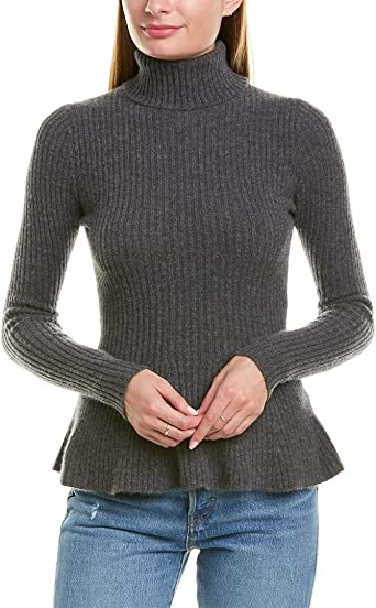 Minnie Rose Women's 100% Cashmere Ribbed Peplum Sweater