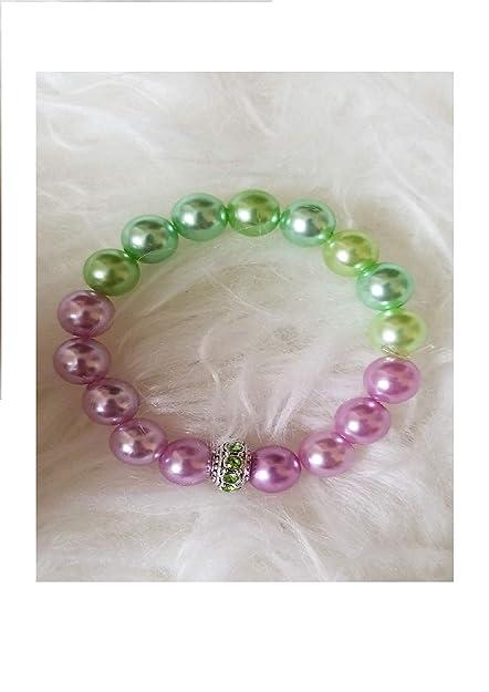 Amazon.com: Pulsera de perlas de color verde lila y rosa con ...