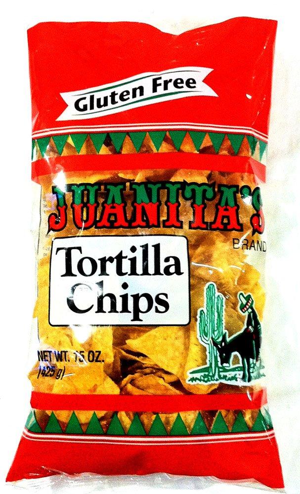 Juanita's Gluten Free TORTILLA CHIPS 15oz (2 Pack) by Juanita's Fine Foods