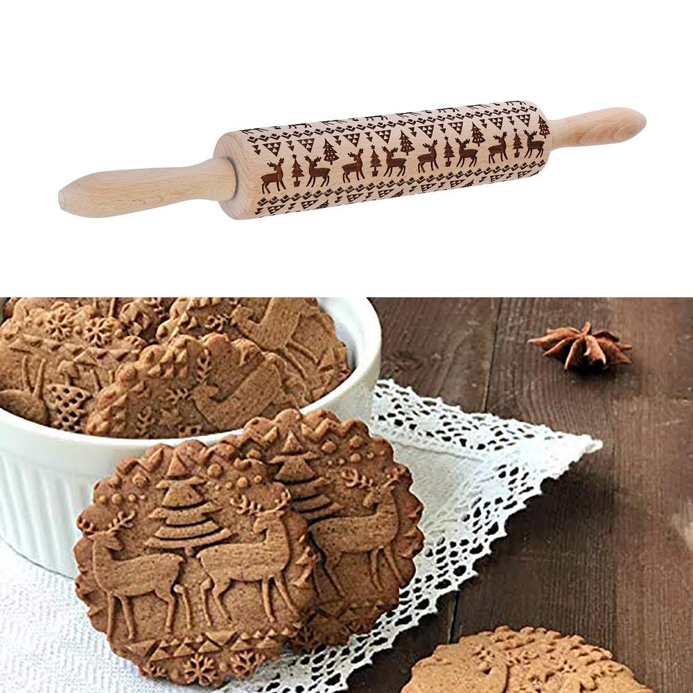 Christmas Themed Rolling Pin By Pollyhb,Elk Engraved Embossing Rolling Pin,Wood Impressed Fun Designs-Perfect For Baking With Kids Dough&Fondant Cookies,Crusts,Pies&Pastry Clay Crafts (38cm) by Pollyhb