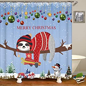 OCCIGANT Christmas Decor Shower Curtain Funny Cute Sloth Merry Christmas Red Cloth Snowflake Gift Tree Branch Dream Blue Winter Durable Waterproof Polyester Fabric Bathroom Decor Set with Hooks