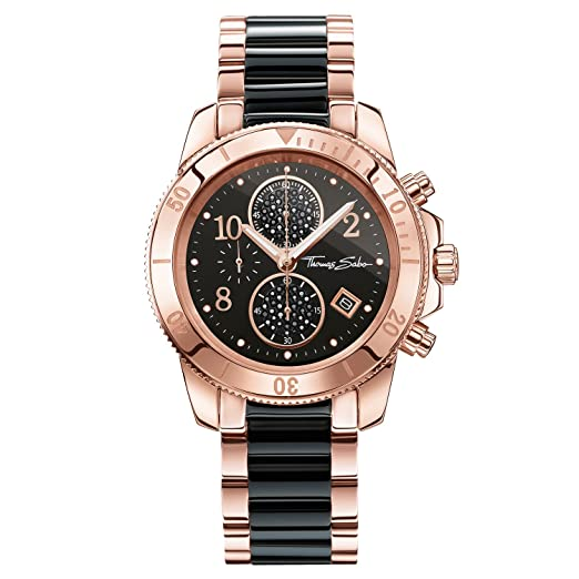 Thomas Sabo Watches, Reloj para señora Glam Chrono, Acero, WA0223-268-203: Amazon.es: Relojes
