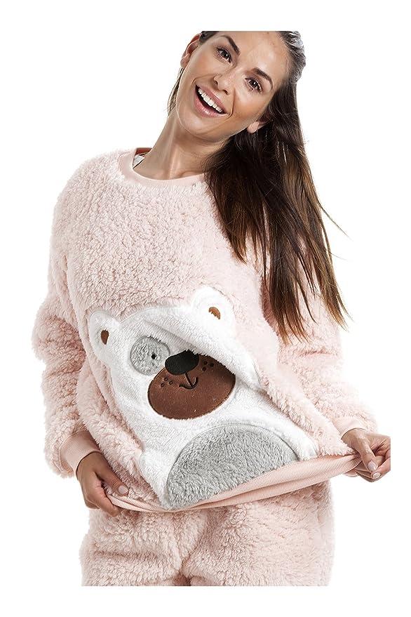 343d324c3945dd Camille - Pyjama-Set mit Teddybär-Motiv - weich & kuschelig - Zartrosa 46/48:  Amazon.de: Bekleidung