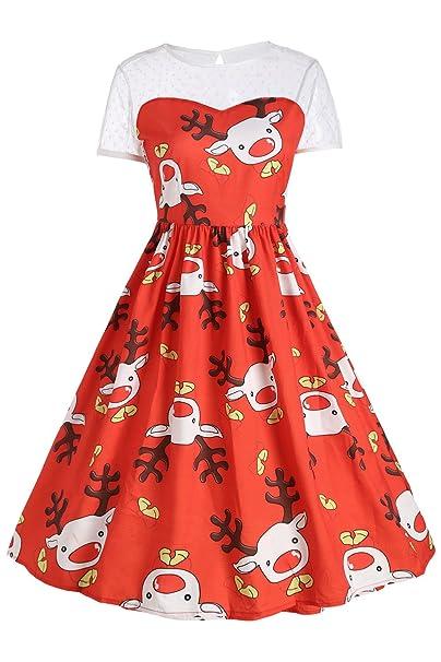 MisShow Vestido Rojo Vintage Estampado Navideño Para Mujeres Estilo A Line Y Elegante Manga Corta Cuello