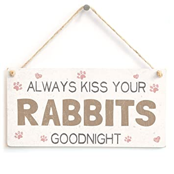 Always Kiss Your Rabbits Goodnight - Lovely Home Accessory Gift Sign For  Rabbit Owners