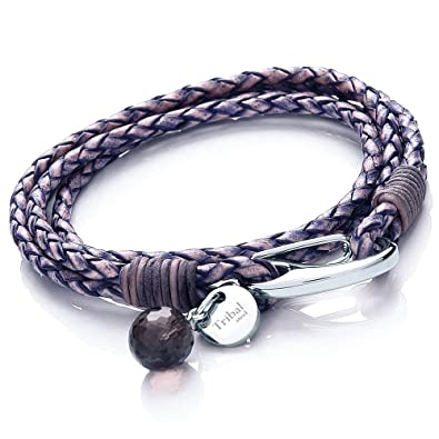 Tribal Steel Jade Leather Two Strand Unplaited Bracelet for Women with Disc Charm of Length 19cm Dn1BeYmQ